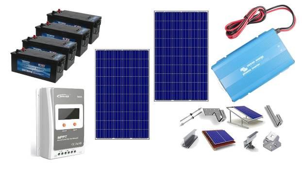 """Αυτόνομο φωτοβολταϊκό πακέτο για εξοχικό με ψυγείο ύψος μέχρι 1,60μ-TV 42""""-μικροσυσκευές-φωτισμός & Συναγερμός (χειμώνα)"""