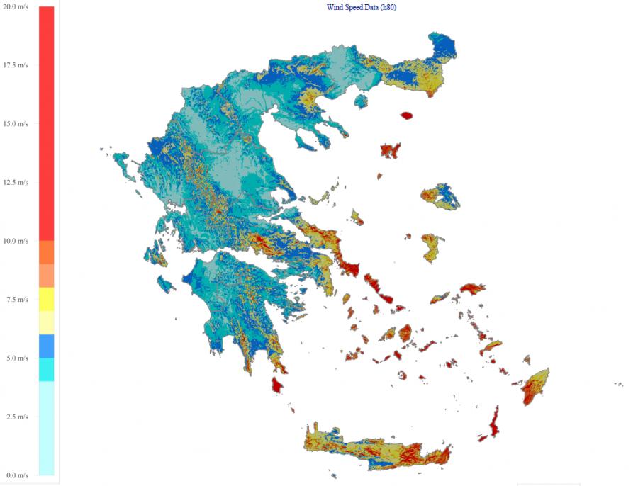 Χάρτης αιολικού δυναμικού Ελλάδας