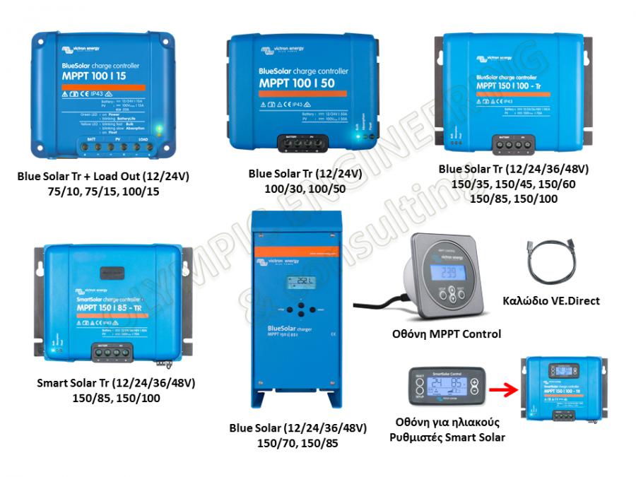 Μοντέλα ηλιακοί ρυθμιστές φόρτισης Victron MPPT