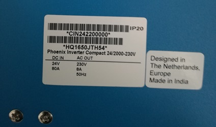 Inverter Victron Phoenix C 2000 24V label