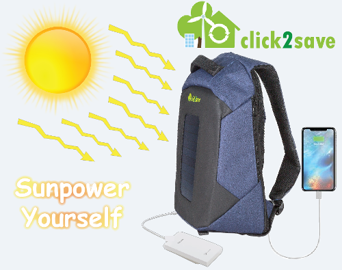 Αντικλεπτικό σακίδιο πλάτης με φωτοβολταϊκό πάνελ και USB για φόρτιση κινητών, powerbanks, κλπ