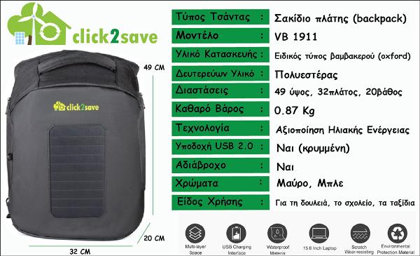 Τεχνικές προδιαγραφές ηλιακού σακιδίου πλάτης Click2Save
